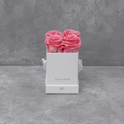 4 Deep Pink Roses (White Box)