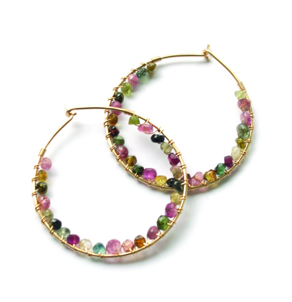 Gemstone Wrapped Hoops