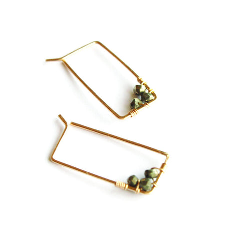 Small Adorned Rectangle Hoops - Jamison Rae Jewelry
