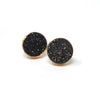 Black Druzy post earrings