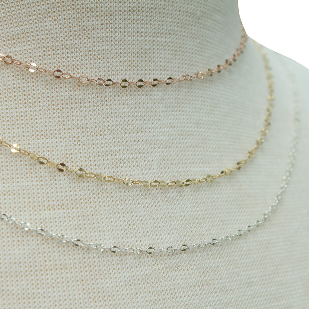 Delicate Dapped Cable Chain layering necklace - Jamison Rae Jewelry