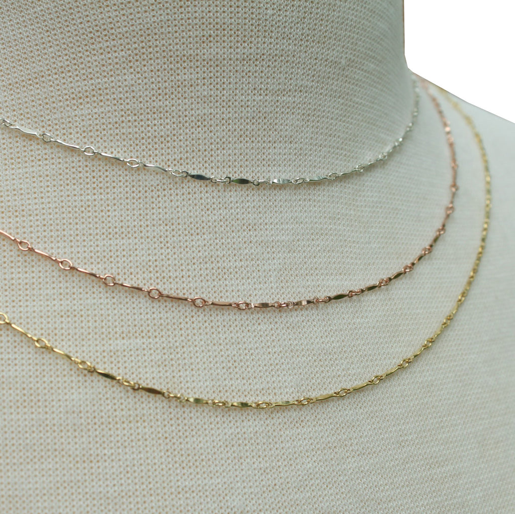 Dapped Bar and Link layering chain necklace - Jamison Rae Jewelry