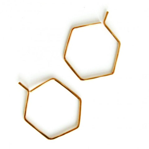 Small Hexagon Hoops - Jamison Rae Jewelry