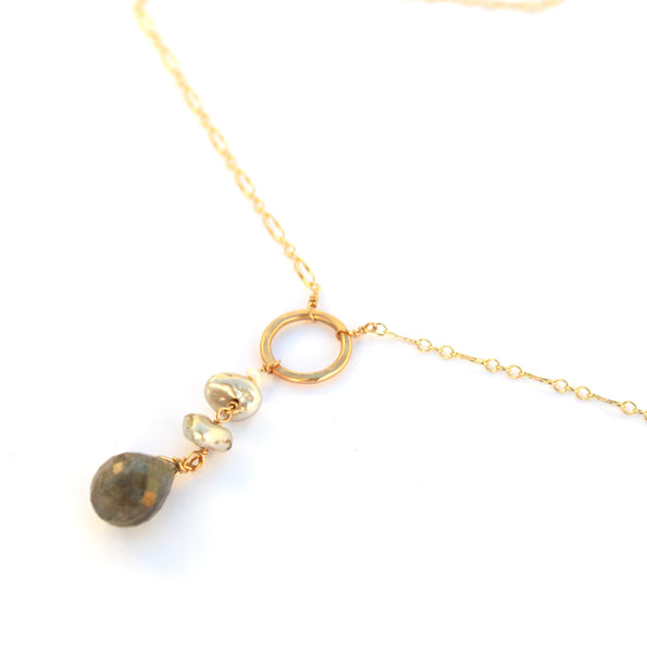 Pearl and Labradorite Drop necklace