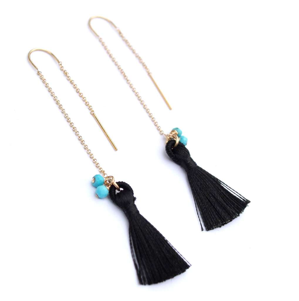 Turquoise and Tassel earrings - Jamison Rae Jewelry