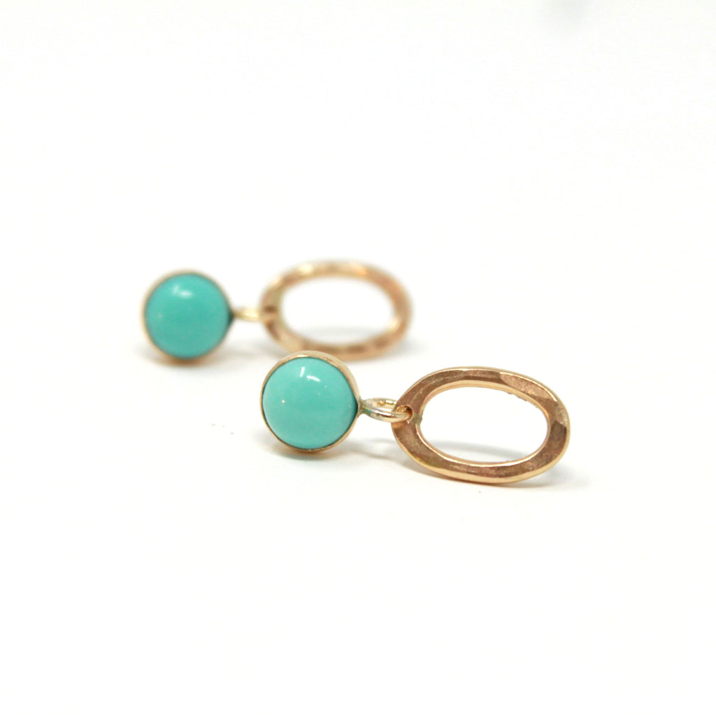 Turquoise Oval Drop post earrings