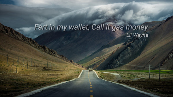 Fart in my wallet, call it gas money ~Lil Wayne