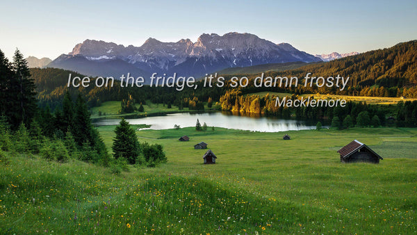 Ice on the fridge, it's so dam frosty ~Macklemore