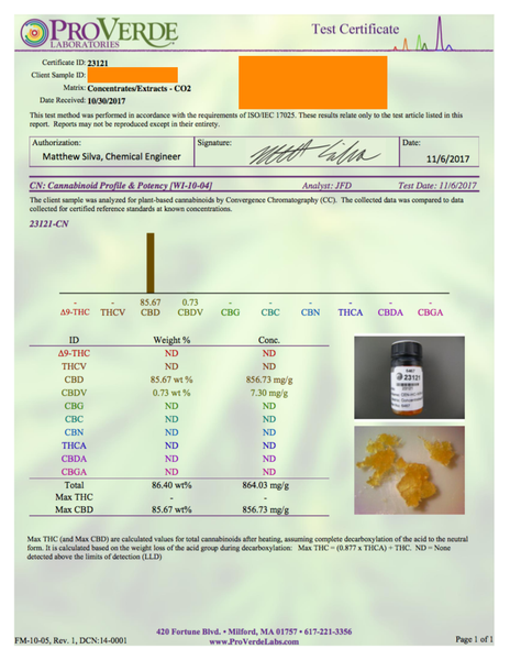 cbd oil lab report results