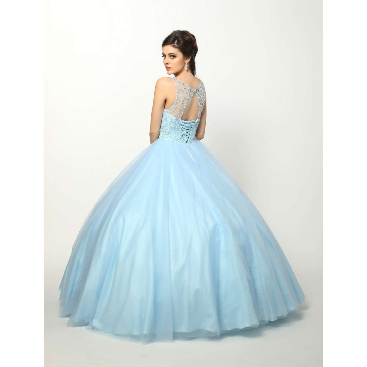 Beaded High Neck Bodice with keyhole back on Tulle Ballgown 1417 - Julietdresses