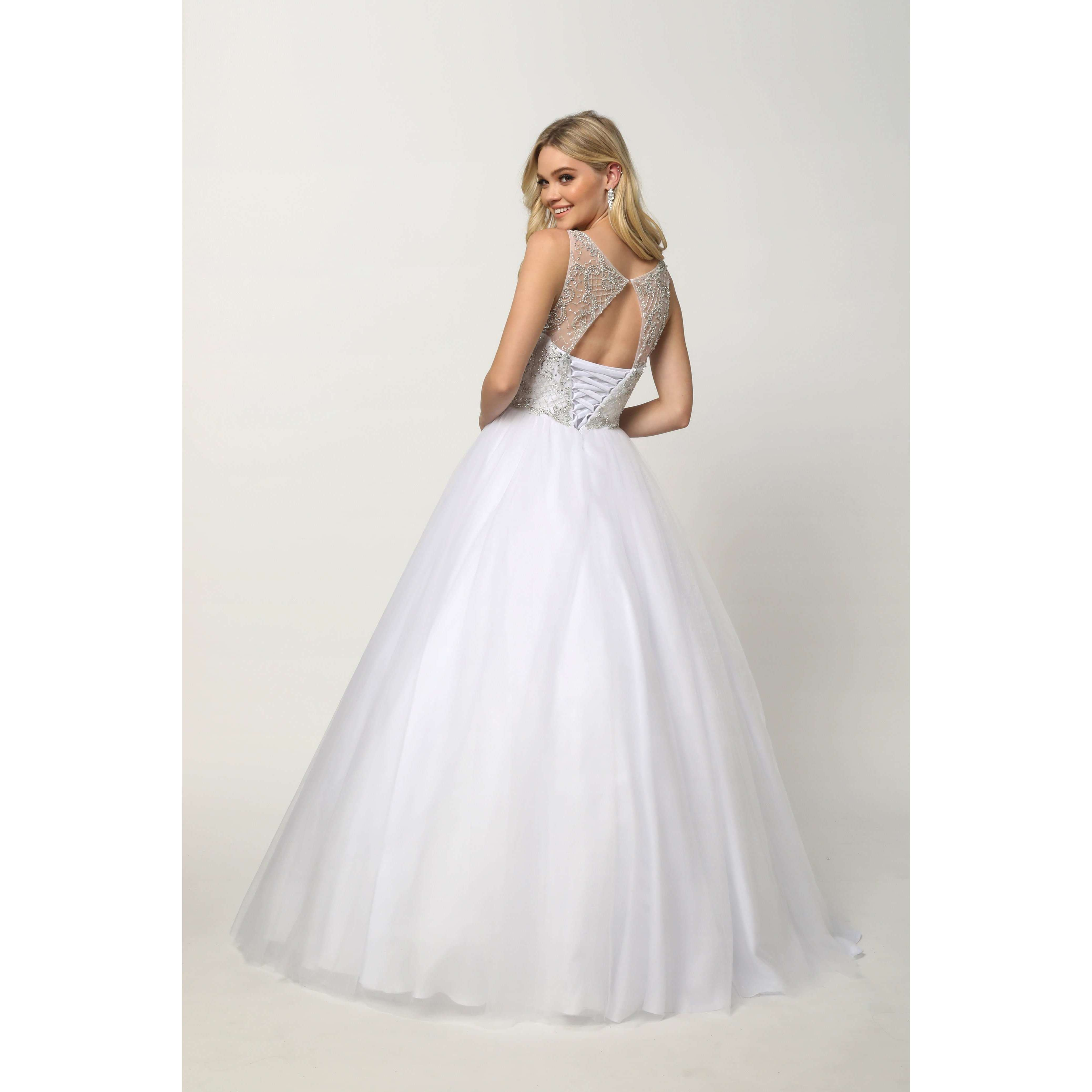 Beaded High Neck Bodice with keyhole back on Tulle Ballgown 1417W - Julietdresses