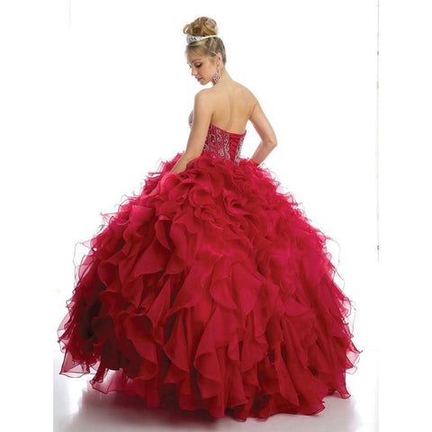 Beaded Corset Bodice with Organza Ruffle Skirt Ballgown 1418 - Julietdresses
