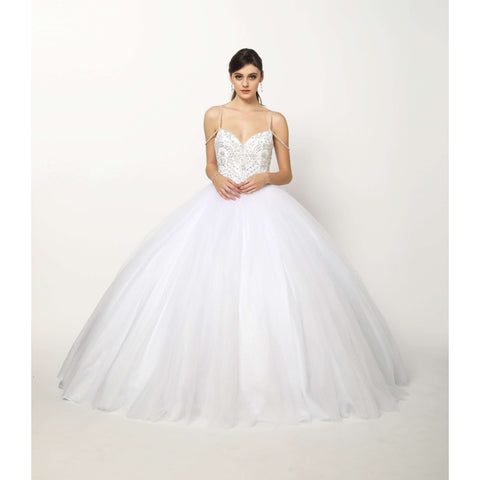 Beaded bodice and Straps Glitter Mesh Ballgown 1419W - Julietdresses