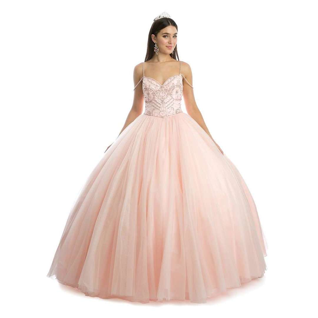 Beaded bodice and Straps Glitter Mesh Ballgown1419 - Julietdresses