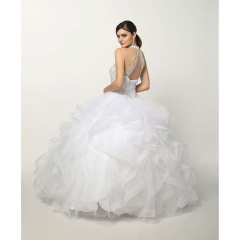Crystal Beading on a Flounced Tulle Ballgown 1420 - Julietdresses