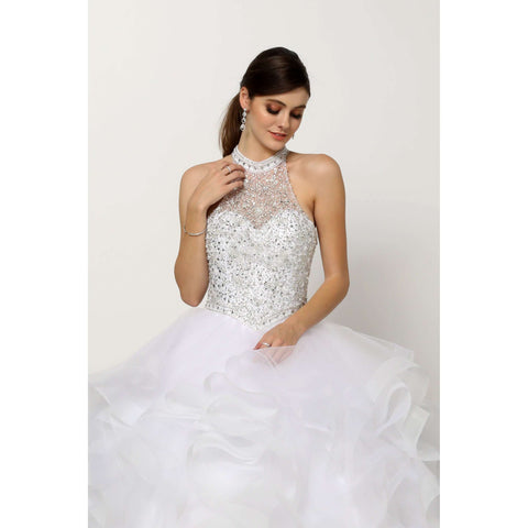 Crystal Beading on a Flounced Tulle Ballgown 1420W - Julietdresses