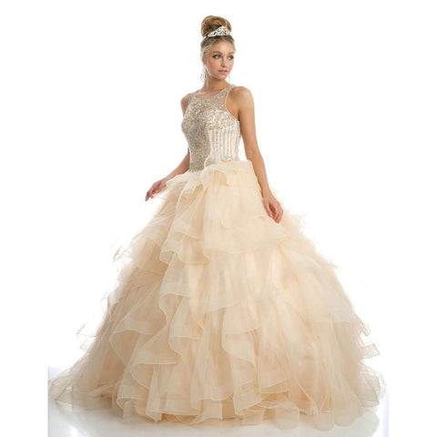 Sweetheart High Neckline and a Ruffled Tulle Ball Gown 1423 - Julietdresses