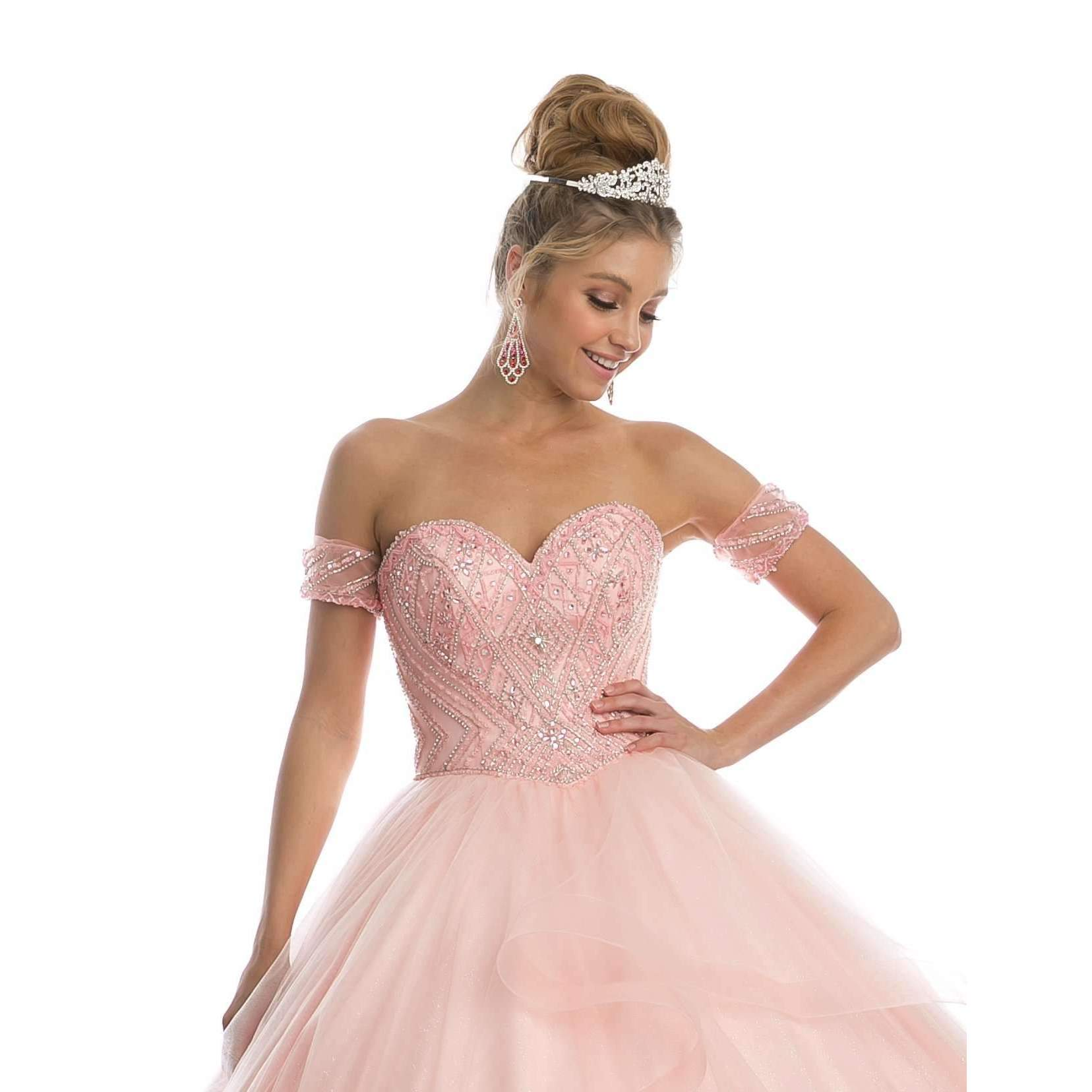 Beaded Embroidery Sweet Heart on Glitter Mesh Ball Gown 1424 - Julietdresses