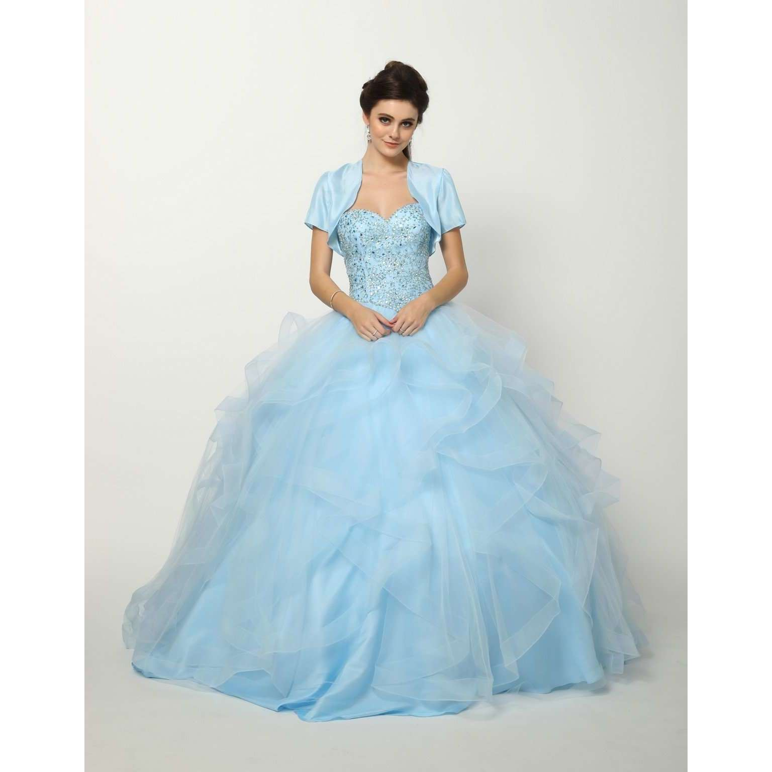 Beaded Lace Bodice on a Flounced Tulle Ball Gown with Detachable Sleeves 1425 - Julietdresses