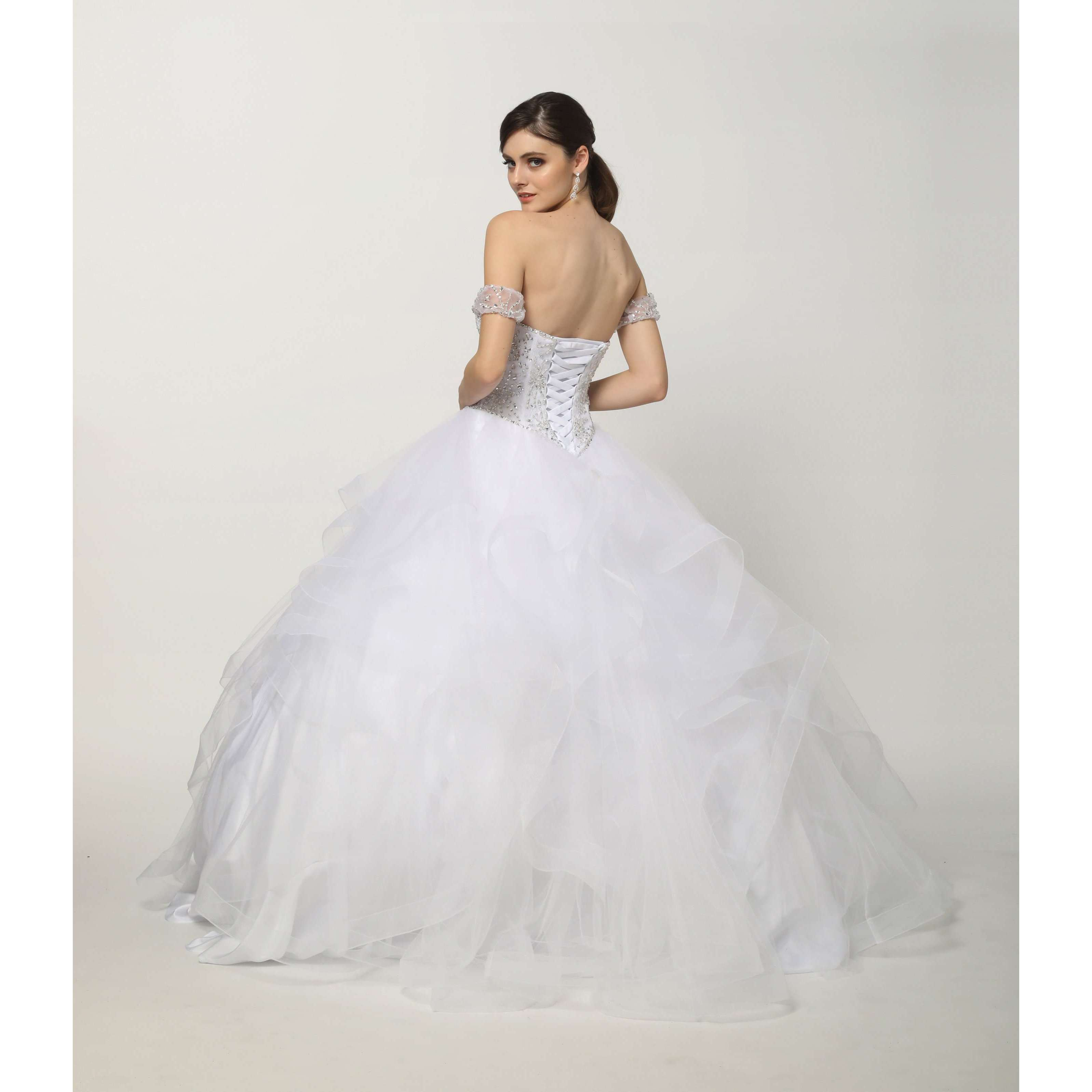 Beaded Lace Bodice on a Flounced Tulle Ball Gown with Detachable Sleeves 1425W - Julietdresses