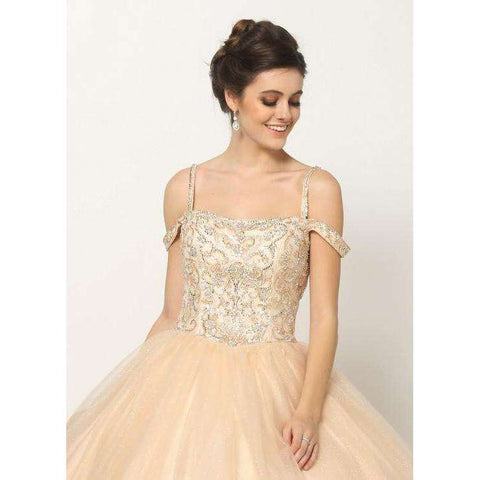 Beaded Embroidery Cold Shoulder  Ballgown 1426 - Julietdresses