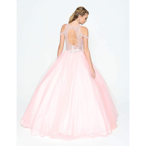 Crystal Beaded High Halter Corset Bodice and Split Front Skirt Ballgown 370 - Julietdresses