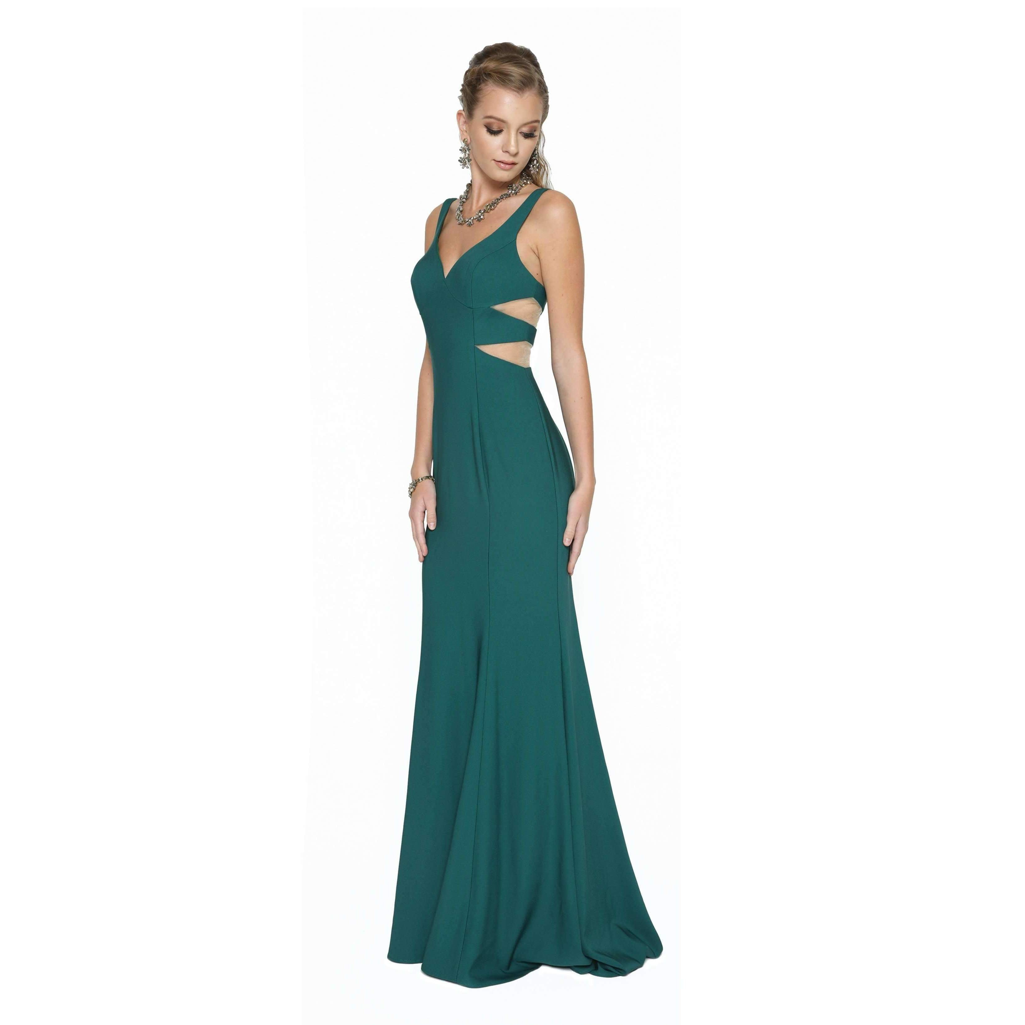 V Neck and Side Cut-Outs Fitted Prom Dress  675 - Julietdresses