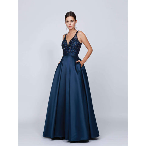 V-Neck Beaded Bodice Ball Gown 682 - Julietdresses