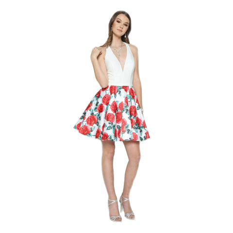 Floral Printed Flare Short Dress 806 - Julietdresses