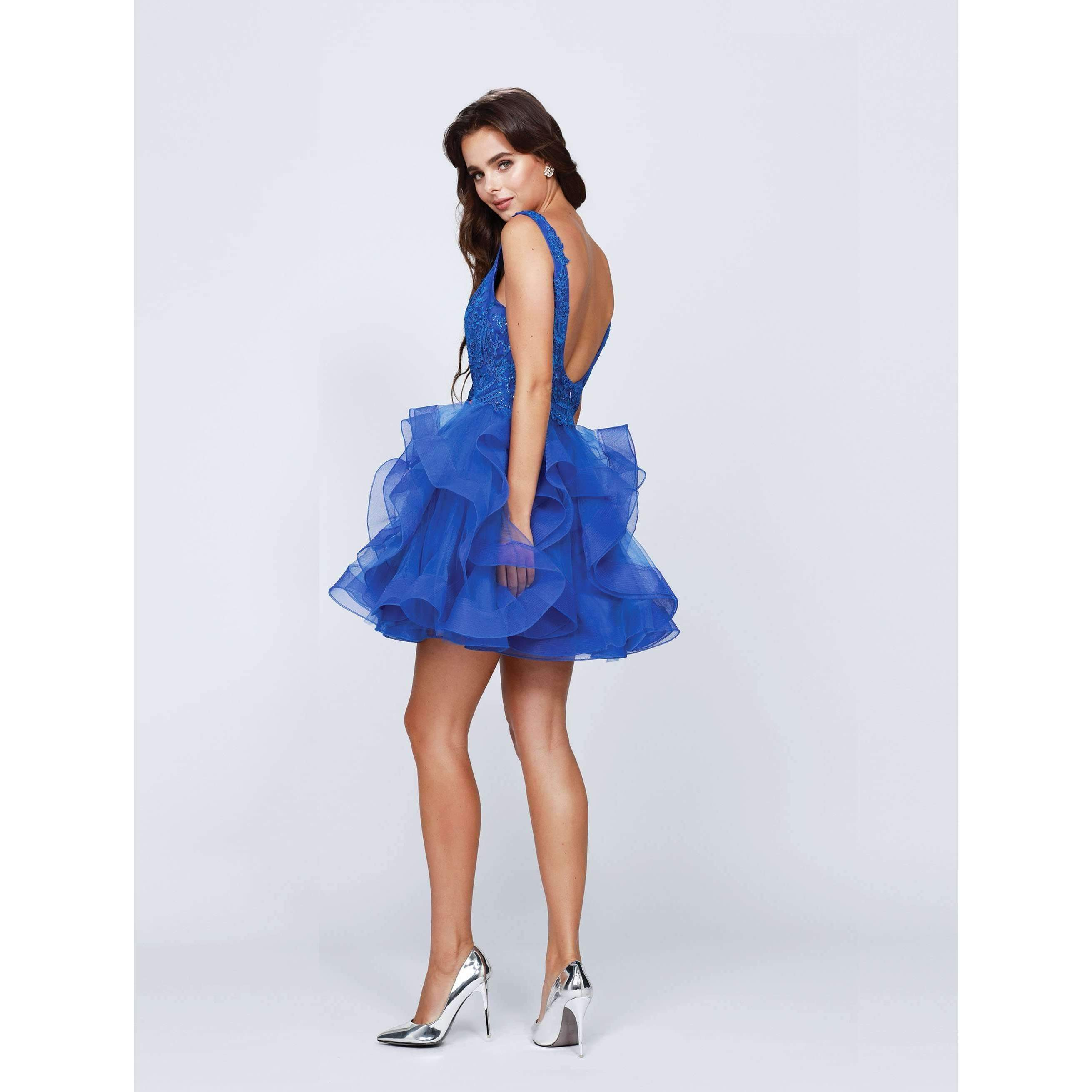 Beaded Bodice Short Ruffled Dress 812 - Julietdresses