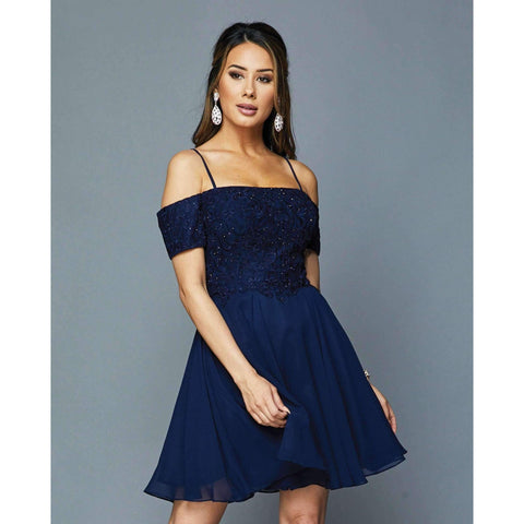 Embroidery Off Shoulder with Straps Short Dress 814 - Julietdresses