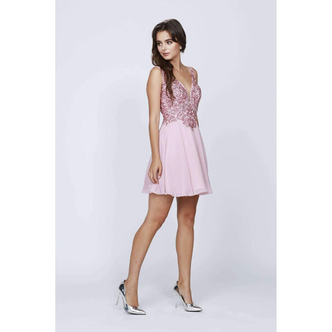 Rhinestones V Neck Short Dress  819 - Julietdresses