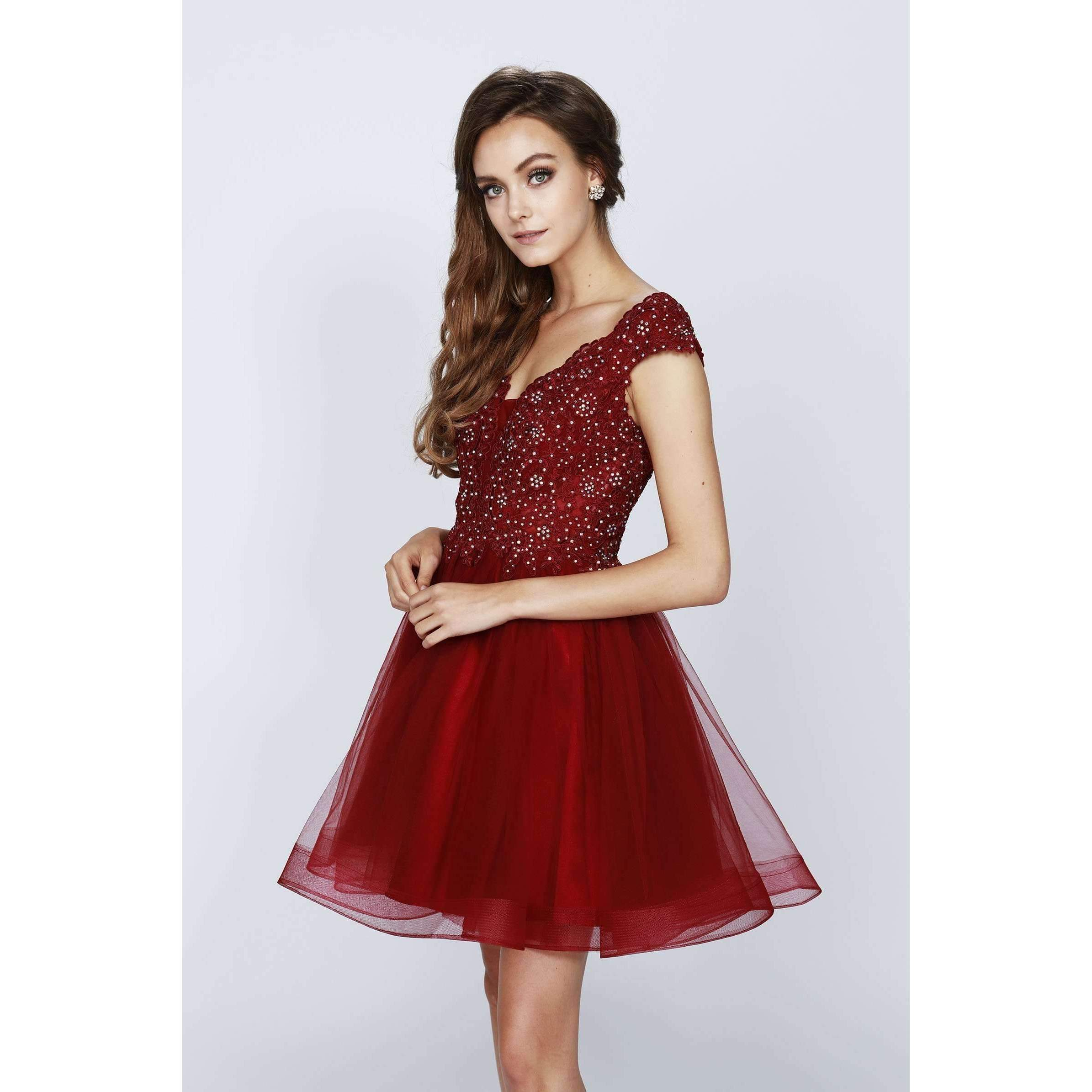 Beaded V Neck Bodice Short Drdss 824 - Julietdresses