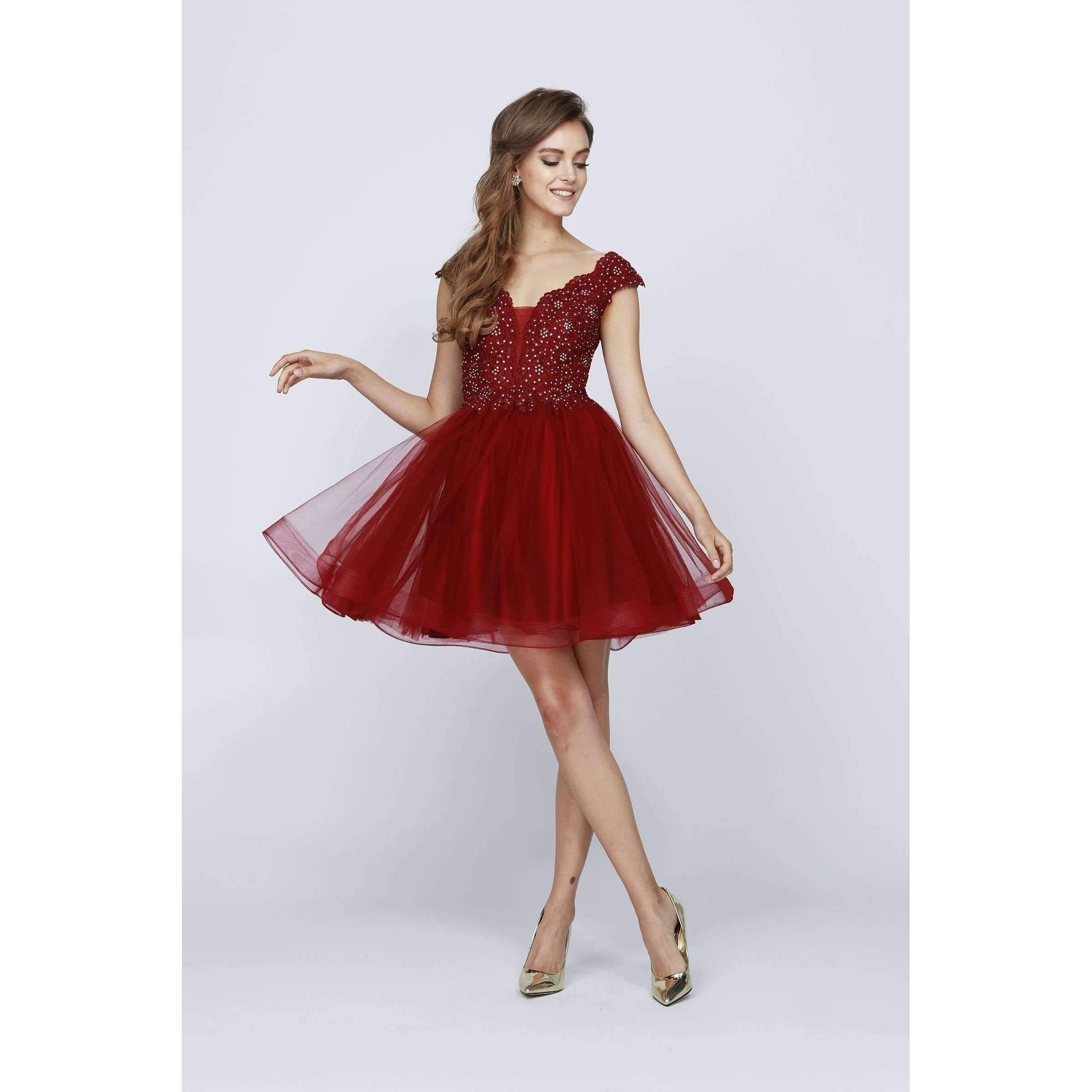 Beaded V Neck Bodice Short Dress 824 - Julietdresses