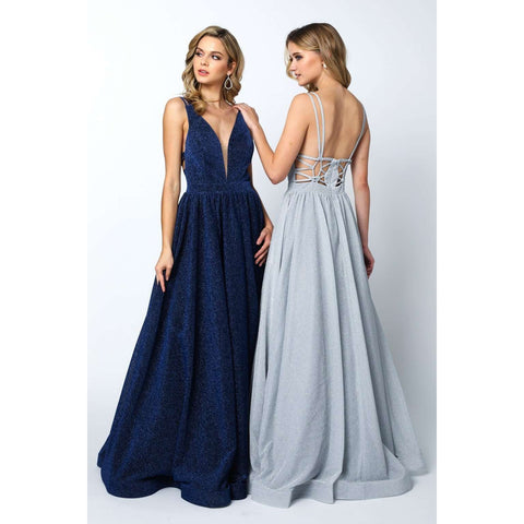 Plunging V-Neckline Long Glitter Prom Dress 201 - Julietdresses