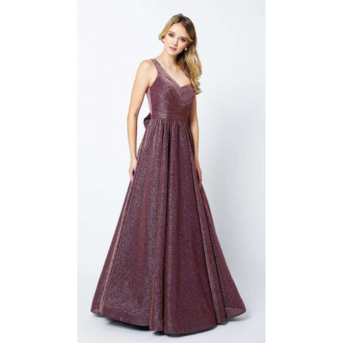 One Shoulder Sleeveless Glitter Prom Gown with Removable Bow 205 - Julietdresses