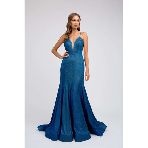 Low V Nect Fitted Glitter Prom Dress 207 - Julietdresses