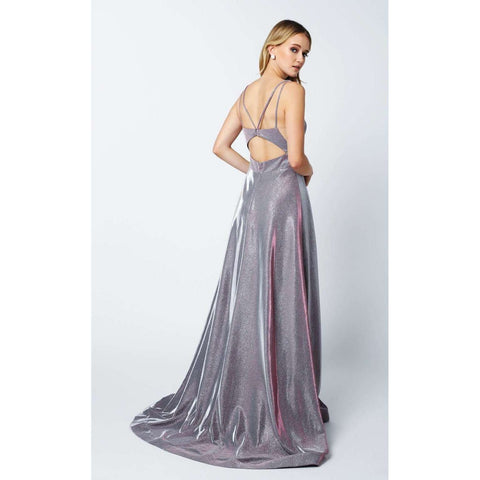 Glitter Crepe Long V-Neck Prom Dress 208 - Julietdresses