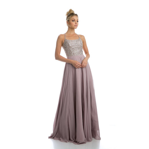 Beaded Bodice A-line Chiffon Evening Prom Dress 210 - Julietdresses