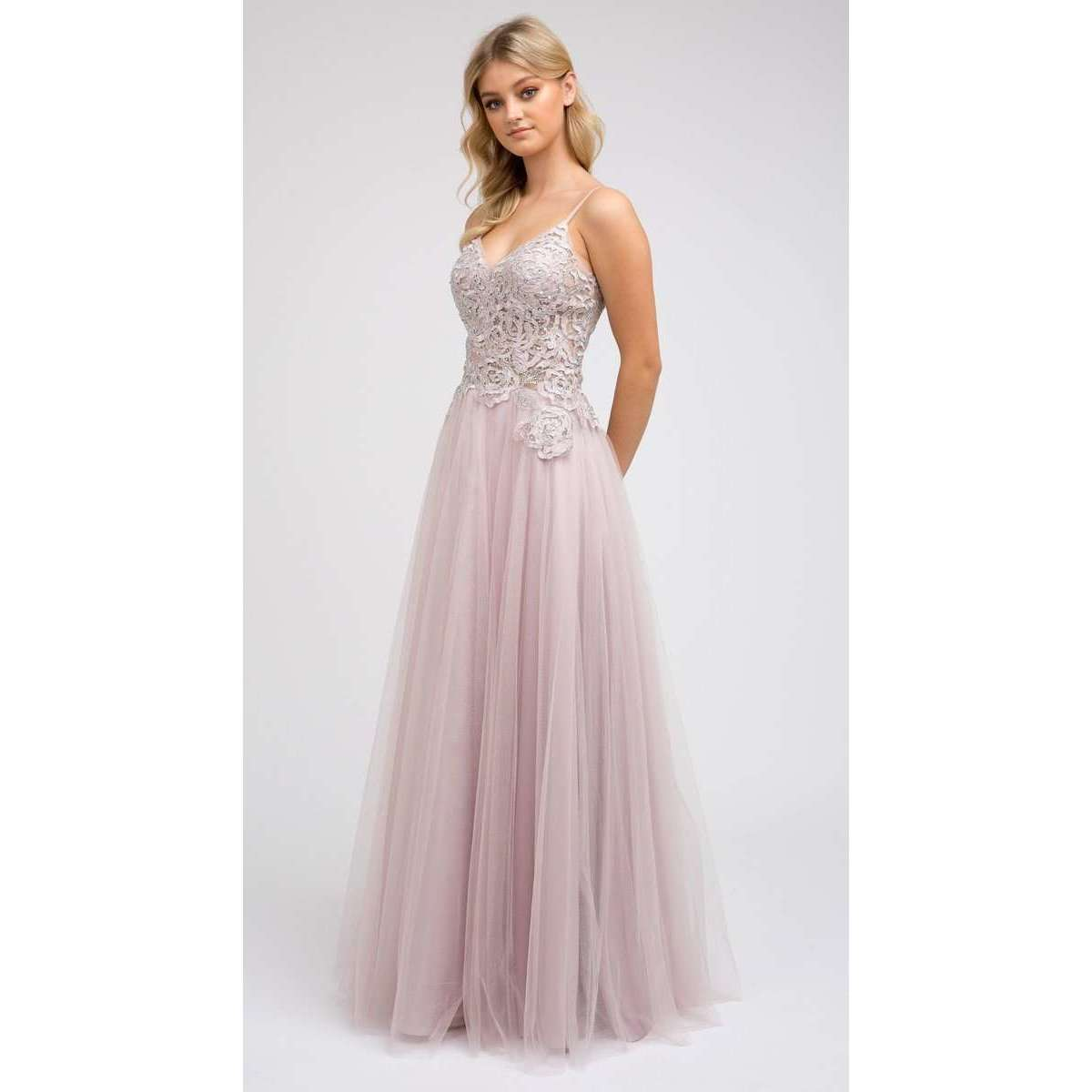 Sheer Embroidered Beaded Bodice Evening Prom Dress 212 - Julietdresses