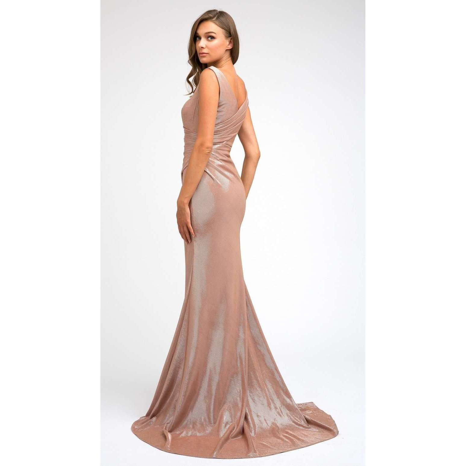 Faux Wrap Metallic Fitted  Evening Prom Dress 218 - Julietdresses