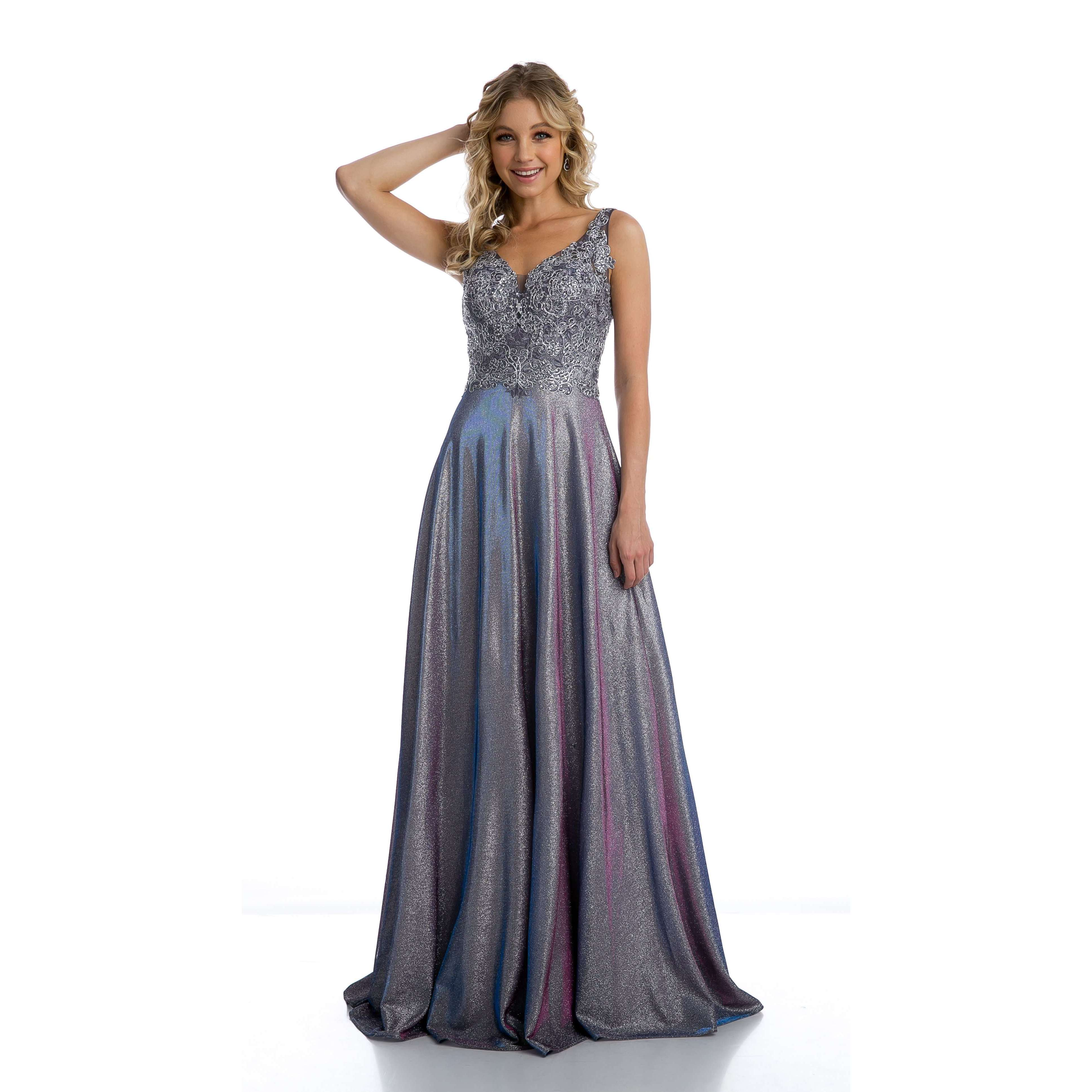 Embellishments Bodice Metallic A line Evening Prom Dress 219 - Julietdresses