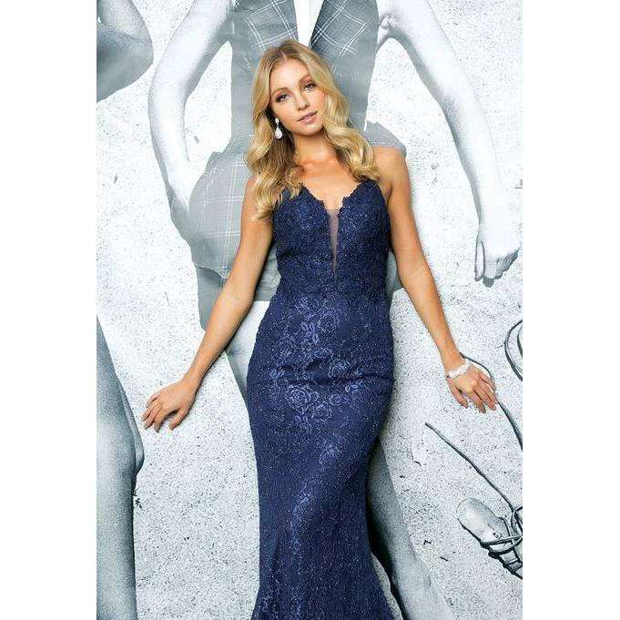 Lace Deep V Line Fitted Evening Prom Dress 220 - Julietdresses
