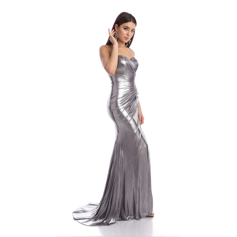 Ruched Side Metallic Foil Fitted Evening Prom Dress 222 - Julietdresses