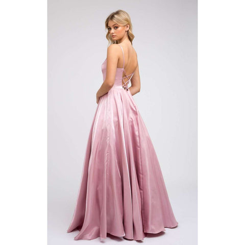 Corset Style Deep V-Neck Long Prom Dress 223 - Julietdresses