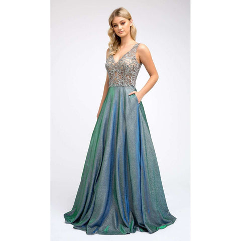 Embroidered Bodice Long Prom Dress 225 - Julietdresses