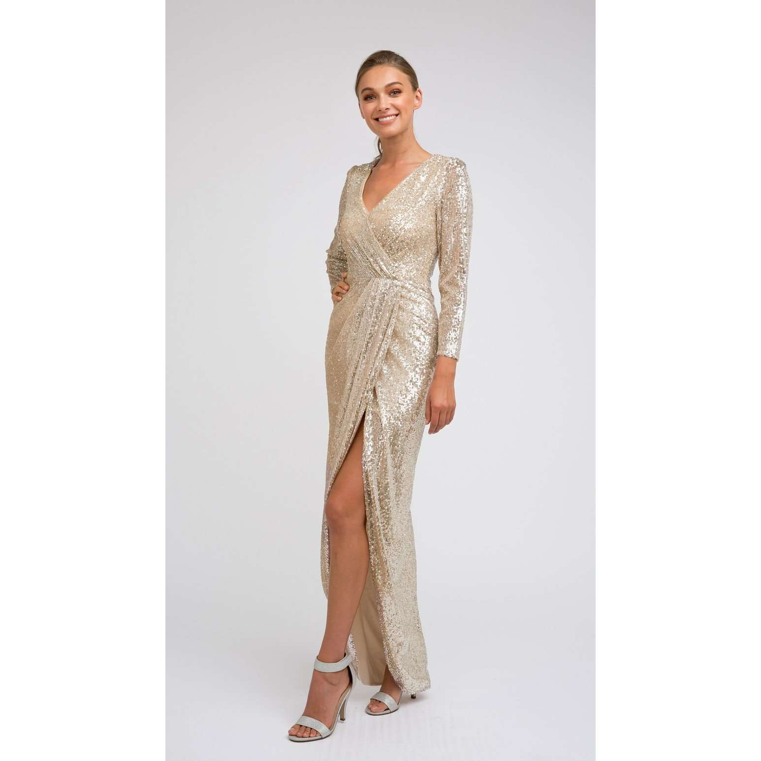 Long Sleeve Sequin Prom Evening Dress 231 - Julietdresses
