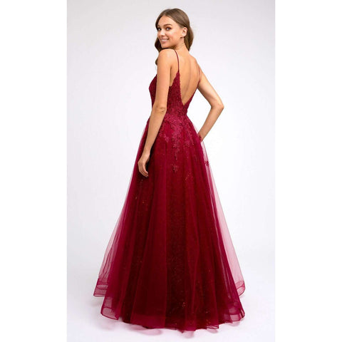 Embroidered Bodice Tulle Prom Ballgown 234 - Julietdresses