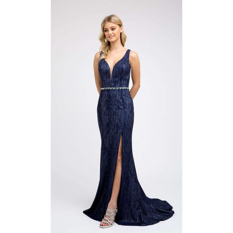 High Slit Fitted Prom Evening Gown 237 - Julietdresses