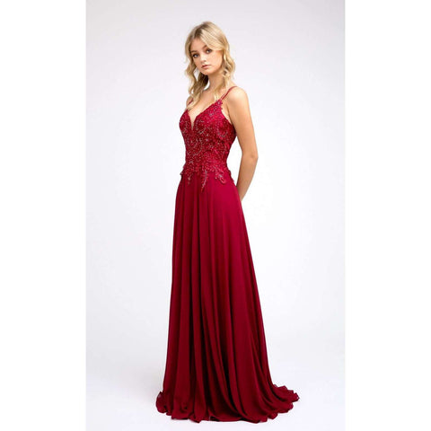 Embroidered Lace Bodice Chiffon Prom Dress 240 - Julietdresses